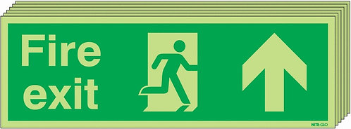 150x450 6 pack Fire Exit Running Man Arrow Up - Nite Glo Self Adhesive