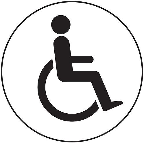 100mm dia Disabled symbol - Black on white