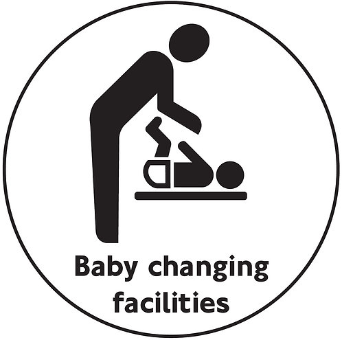 100mm dia Baby changing facilities - Black on silver