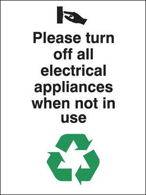 100x75mm Please turn off all electrical appliances Rigid