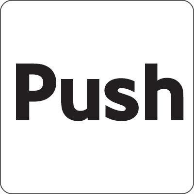 100x100mm Push - Black on silver