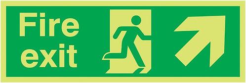 150x300mm Fire Exit Running Man Arrow Right - Xtra Glo Rigid