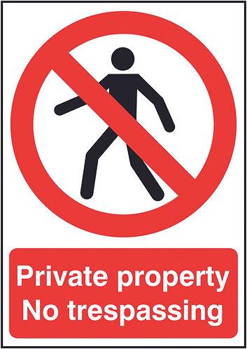 210x148mm Private Property No Trespassing - Rigid