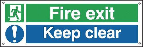 150x450mm Fire Exit Keep Clear - Aluminium