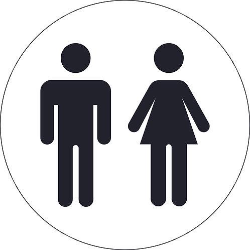 125mm Dia Male and Female (symbols only) - Economy washroom sign
