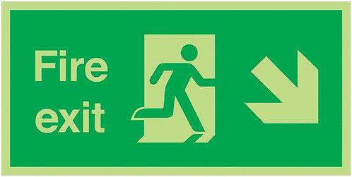 150x300mm Fire Exit Running Man Arrow Down Right - Xtra Glo Rigid