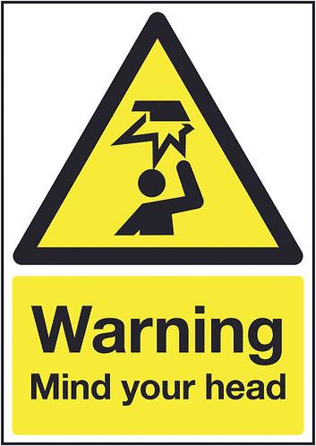 210x148mm Warning Mind Your Head - Rigid
