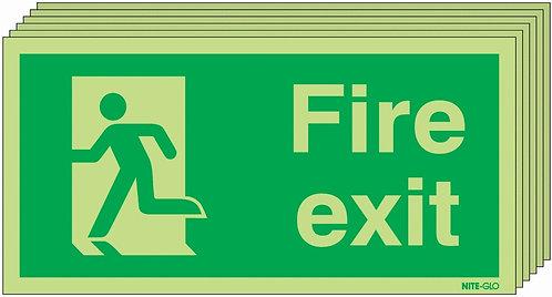 150x300 6 pack 150x300 Fire Exit Running Man Left - Nite Glo Rigid
