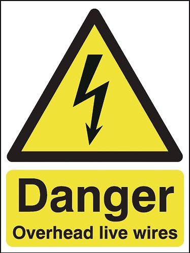 210x148mm Danger Overhead Live Wires - Rigid