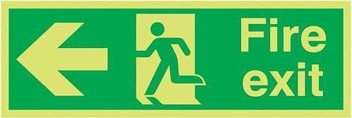 150x450mm Fire Exit Running Man Arrow Left - Xtra Glo Self Adhesive
