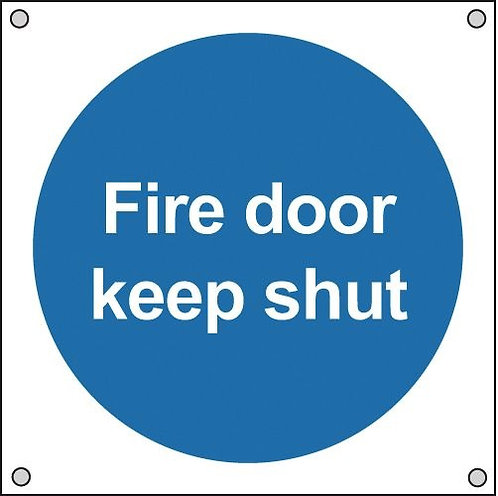 100x100mm Fire Door Keep Shut - Aluminium