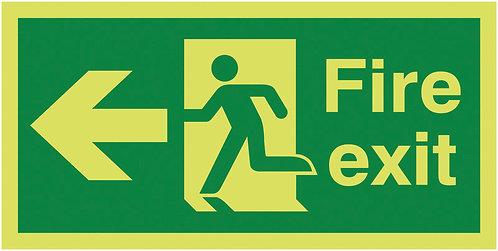 150x300mm Fire Exit Running Man Arrow Left - Nite Glo Self Adhesive