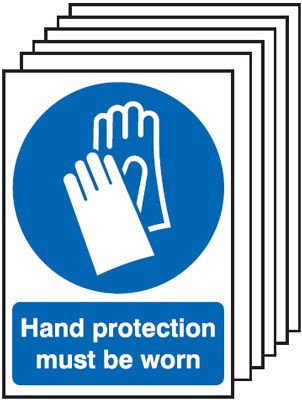 210x148mm Hand Protection Must Be Worn - Rigid Pk of 6