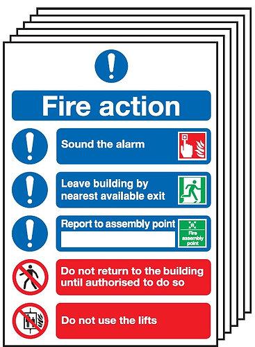 210x148mm Fire Action Notice (Symbolised) - Rigid Pk of 6