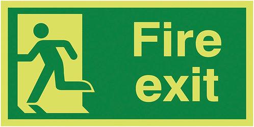 150x300mm Fire Exit Running Man Left - Nite Glo Rigid