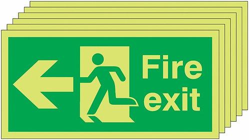 150x300 6 pack 150x300 Fire Exit Running Man Arrow Left - Nite Glo Rigid