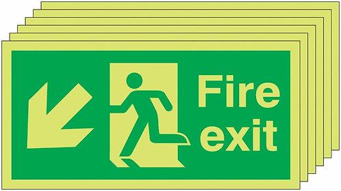 150x300 6 pack 150x300 Fire Exit Running Man Arrow Down Left - Nite Glo Rigid