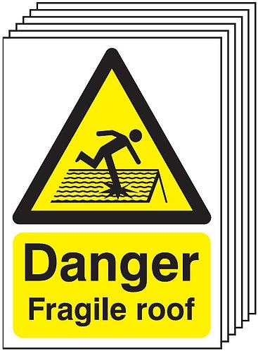 210x148mm Danger Fragile Roof - Rigid Pk of 6