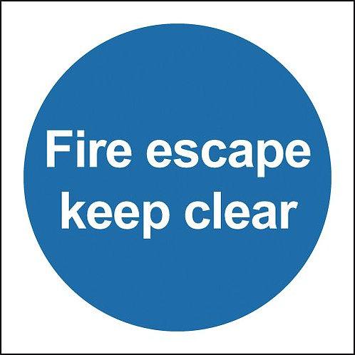 100x100mm Fire Escape Keep Clear - Rigid