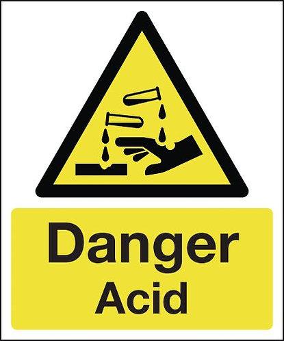 210x148mm Danger Acid - Rigid