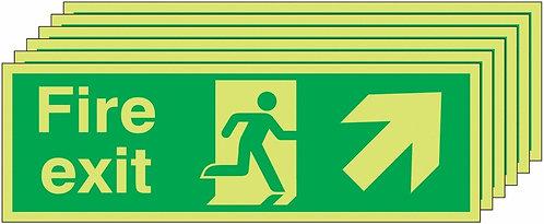 150x450 6 pack 150x450 Fire Exit Running Man Arrow Up Right - Nite Glo Rigid