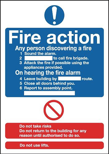 210x148mm Fire Action Notice (Standard) - Self Adhesive