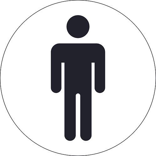 125mm Dia Male (symbol only) - Economy washroom sign