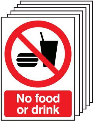 210x148mm No Food or Drink - Rigid Pk of 6