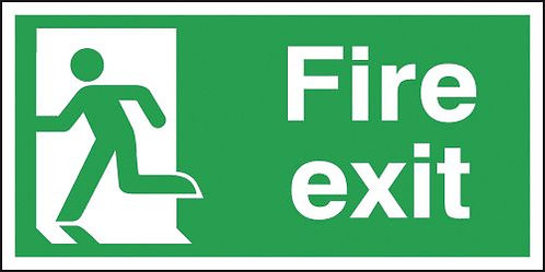150x300mm Fire Exit Running Man Left - Self Adhesive
