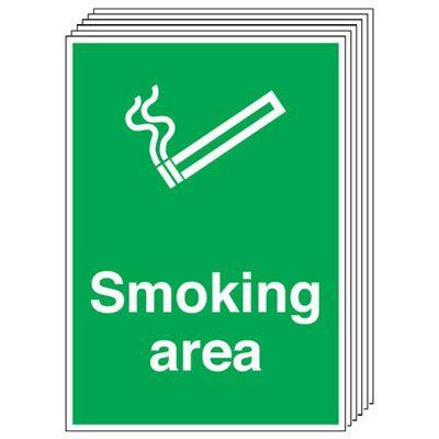 210x148mm Smoking Area - Rigid Pk of 6