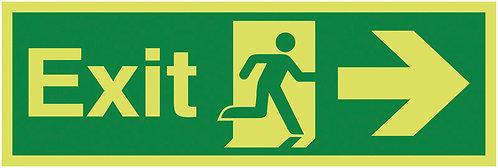 150x450mm Exit Running Man Arrow Right - Nite Glo Self Adhesive