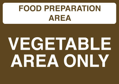 148x210mm Food Prep Area - Vegetable Area Only - Self Adhesive