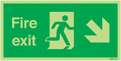150x300mm Fire Exit Running Man Arrow Down Right - Nite Glo Rigid