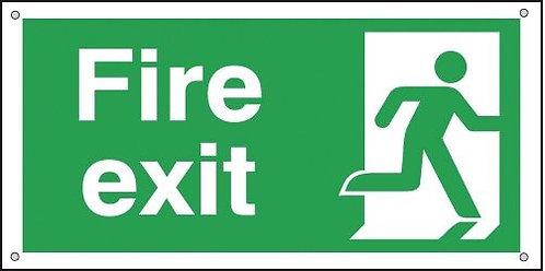 150x300mm Fire Exit Running Man Right - Aluminium