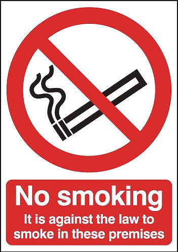 210x148 No Smoking It Is Against The Law - Face Adhesive Vinyl