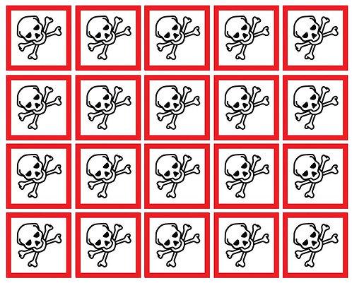 100x100mm Toxic GHS Symbols 6 labels on a sheet