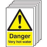 210x148mm Danger Vey Hot Water - Rigid Pk of 6