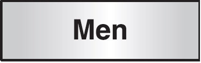 102x305mm Men Architectural Door Sign Left Aligned