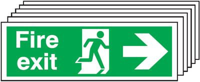 150x450mm Fire Exit Running Man Arrow Right - Self Adhesive Pk of 6