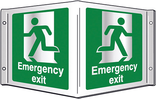 200x400mm Emergency exit Projecting 3D Sign
