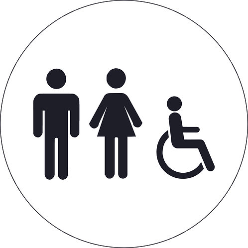 125mm Dia Male, Female and Accessible Toilet - Economy washroom sign