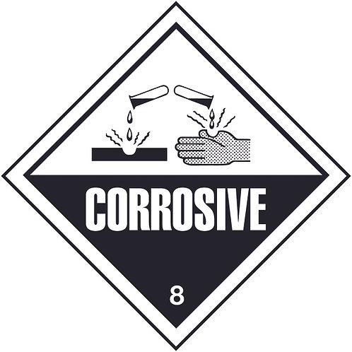 100x100mm Corrosive Hazard Warning Diamond Roll of 310