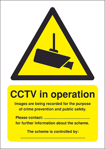 210x148mm CCTV in Operation (Data Protection Act) - Rigid