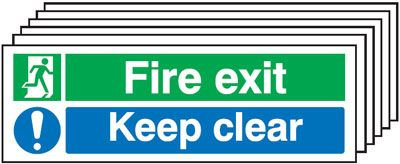 150x300mm Fire Exit Keep Clear - Rigid Pk of 6