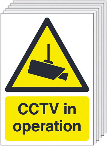 210x148mm CCTV in Operation - Self Adhesive Pk of 6