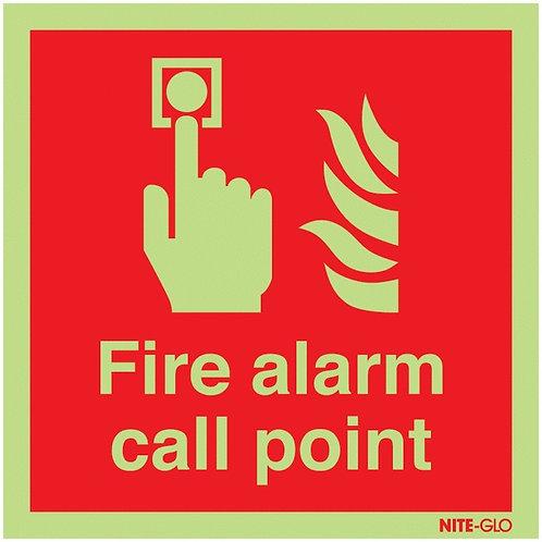 150x150mm Fire Alarm Call Point - Nite Glo Self Adhesive