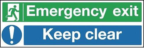 150x300mm Emergency Exit Keep Clear - Rigid