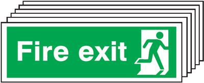 150x450mm Fire Exit Running Man Right - Self Adhesive Pk of 6