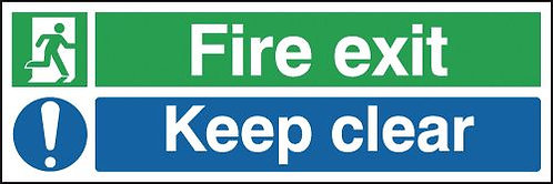 150x450mm Fire exit Keep clear Reflective sign