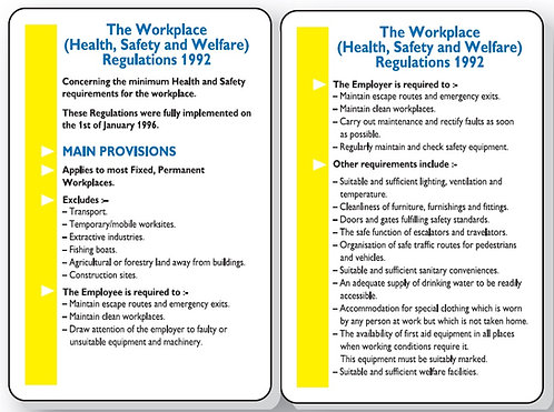 120x80mm The Workplace Health Safety & Welfare Regulations 1992 Pocket Guide